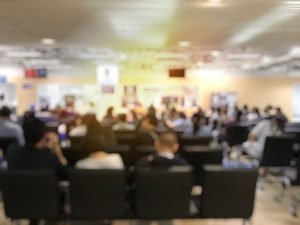 Blurred people in a conference room