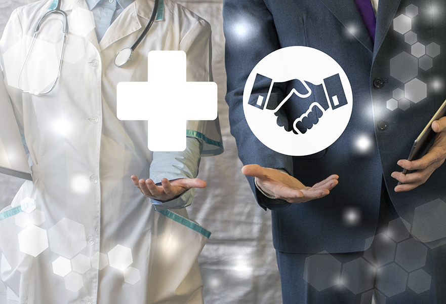 Specialty Pharmacy symbol and Private Equity hand shake symbol