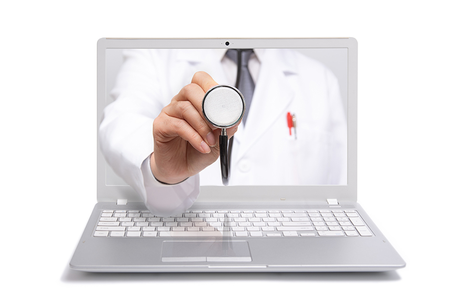 Telehealth and Telemedicine doctor through a computer