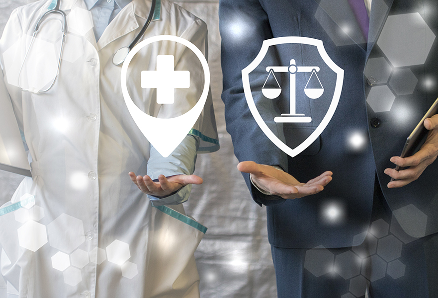 Doctor holding pharmacy symbol and attorney holding law symbol