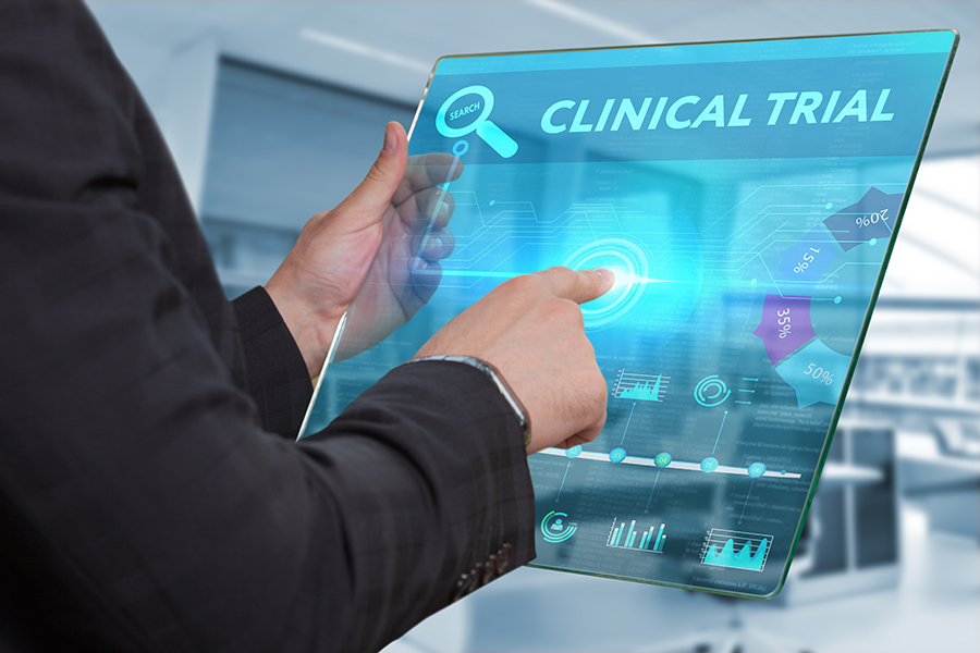 Clinical Trials on interactive screen