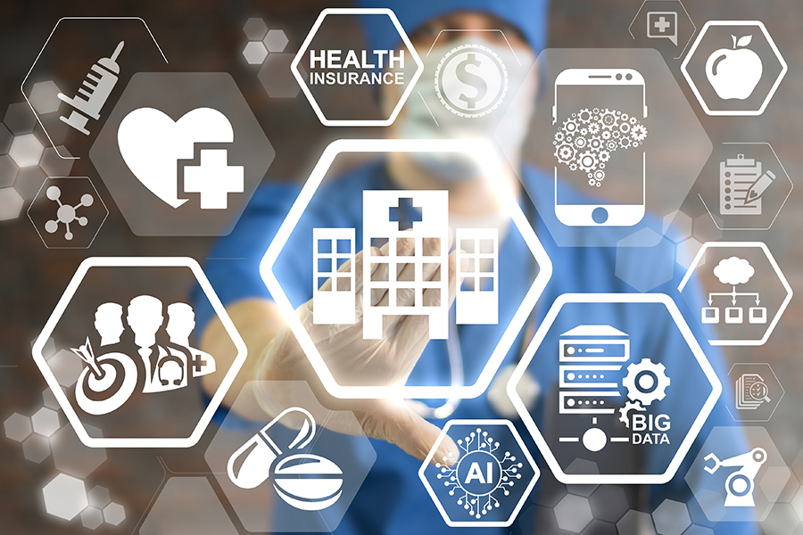 Integrated healthcare network symbols and doctor