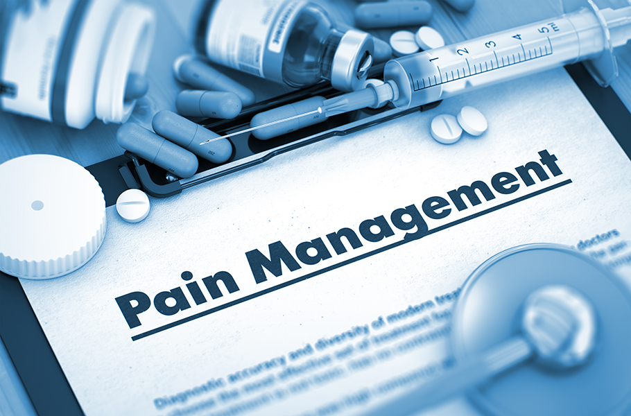 Pain Management  document with medical supplies and pills